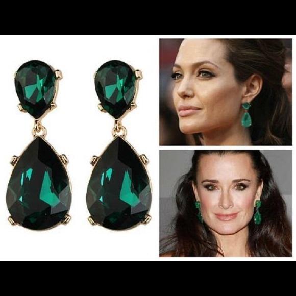 Kenneth Jay Lane Emerald Tear Drop Earrings
